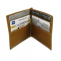 Piel Leather Bi-Fold Money Clip Wallet 2858 - Saddle1