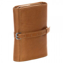 Piel Leather Tri-Fold Buckle Toiletry Kit 2998 - Saddle
