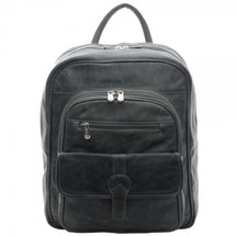 Piel Leather Medium Buckle Flap Backpack 3060 - Charcoal Gray