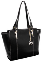 McKlein Alicia Leather Shoulder Tote Black