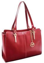 McKlein Glenna Leather Shoulder Tote 9755 Red