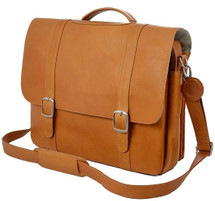 Edmond Leather Deluxe Executive Double Buckle Briefcase (Tan)