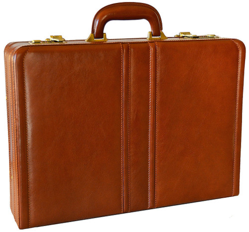 Edmond Leather Luxury Leather Attache Case (Chestnut)