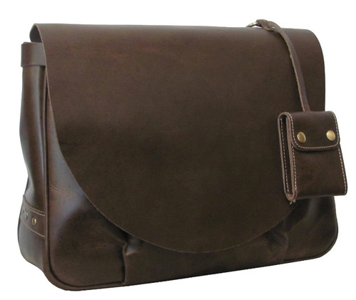 Amerileather Vintage Flapover Messenger Dark Brown