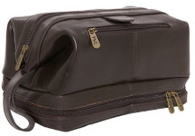 Amerileather Leather Toiletry Bag Brown
