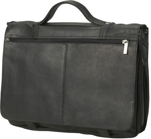 Edmond Leather Full Flap Expandable Leather Briefcase (Black)