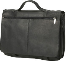 Edmond Leather Full Flap Expandable Leather Briefcase (Black)
