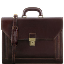 Tuscany Leather Napoli Leather Briefcase (Dark Brown)