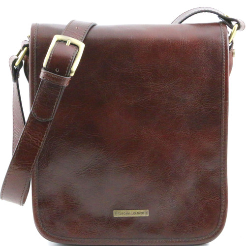 Tuscany Leather TL Vertical Leather Messenger Bag (Two Compartment)