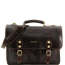 Tuscany Leather Modena Leather Briefcase (Medium) (Dark Brown)