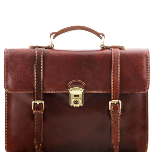 Tuscany Leather Viareggio Leather Backpack Briefcase (Brown)