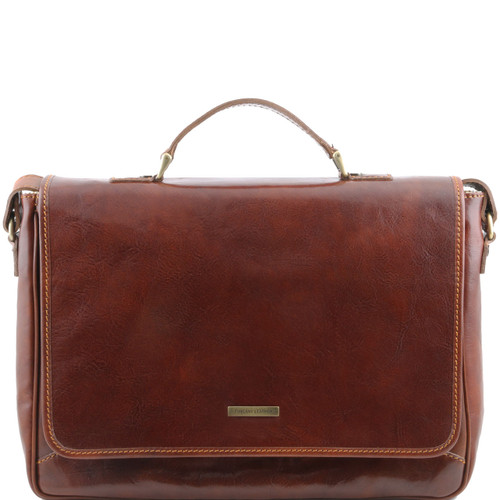 Tuscany Leather Padova Leather Messenger Bag Briefcase (Brown)