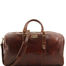 Tuscany Leather Francoforte Leather Travel Bag Duffle (Large) (Brown)