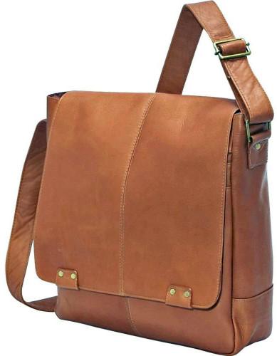 Edmond Leather Deluxe Vertical Messenger Bag (Tan)