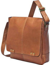 Edmond Leather Deluxe Vertical Messenger Bag (Tan)
