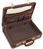 Edmond Leather Mid-Size Business Attache Case Brown (Open)