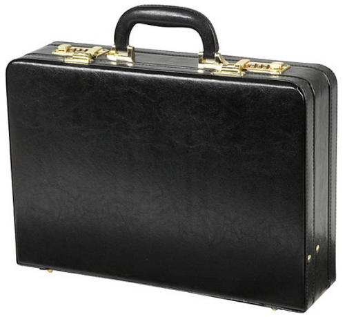 Edmond Leather Large Business Attache Case Attache (Black)