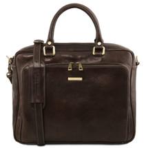 Tuscany Leather Pisa Laptop Briefcase (Dark Brown)
