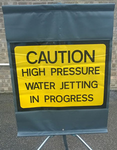 Caution High Pressure Water Jetting Sign