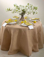 108-Inch Round Jute Burlap Round Table Overlay Table Cover - Natural. Made In USA.