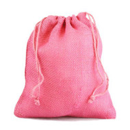 "12"" x 14"" Burlap Jute Favor Party Gift Bags with Drawstring (Pack of 10) - Pink"