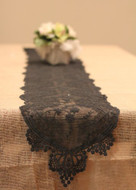 "12"" x 74"" inches Floral Pattern Cotton Lace Table Runner (Black)"