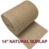 "14"" Inch Natural Burlap Roll. Fringed and Sewn Edges. (25 Yards)"