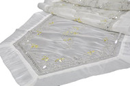 "16"" x 72"" Hand Beaded and Embroidered Design White Organza Table Runner or Topper with Tassels"