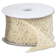"2 1/3"" wide x 10 yards Ivory Floral Pattern Cotton Crochet Lace Ribbon for Decorating, Floral Designing and Crafts"