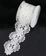 "2 3/4"" x 5 Yards Floral Lace Crochet Ribbon (White)"