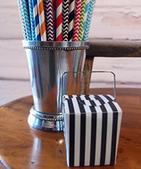 "2"" Mini Stripe Pet Take-out Gift Favor Boxes, Pack of 12 (Black)"