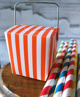 "2"" Mini Stripe Pet Take-out Gift Favor Boxes, Pack of 12 (Orange)"
