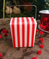 """2"""" Mini Stripe Pet Take-out Gift Favor Boxes, Pack of 12 (Red)"""