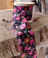 """2"""" Wide x 10 Yards Polyester Long Floral Print Ribbon - Black with Pink Flowers"""