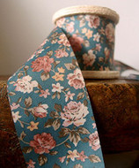 """2"""" Wide x 10 Yards Polyester Long Floral Print Ribbon - Blue"""