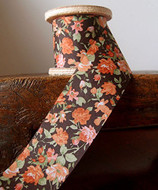 """2"""" Wide x 10 Yards Polyester Long Floral Print Ribbon - Brown"""
