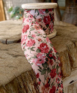 """2"""" Wide x 10 Yards Polyester Long Floral Print Ribbon - Light Pink"""