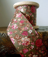 """2"""" Wide x 10 Yards Polyester Long Floral Print Ribbon - Olive"""