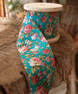 """2"""" Wide x 10 Yards Polyester Long Floral Print Ribbon - Turquoise"""