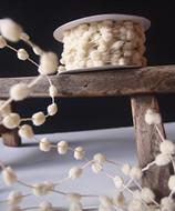 25 Yards Mini Wired Fuzzy Pom Pom Trim Ribbon Lace - Ivory