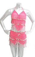 2-piece Belly Dancing Coin Hip Scarf and Top Set - Hot Pink w/Silver Coins