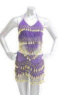 2-piece Sexy Belly Dancing Coin Hip Scarf and Coin Top Set - Purple with Gold Coins