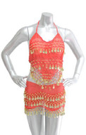 2-piece Sexy Belly Dancing Hip Scarf Top Costume Set - Red/Gold
