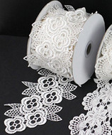"3"" x 5 Yards Floral Lace Crochet Ribbon (White)"