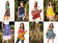 36 Pcs. Wholesale Lot Vintage Silk Sari Magic Wrap Skirt Halter Tube Maxi Dress