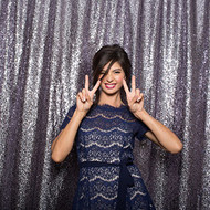 5ft x 6ft DARK GRAY Sequin Taffeta Fabric Photography Backdrop, Sequin Photo Booth Backdrop - MADE IN USA.