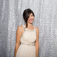 5ft x 6ft SILVER Sequin Taffeta Fabric Photography Backdrop, Sequin Photo Booth Backdrop - MADE IN USA.
