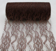 "6"" wide x 10 Yards Sparkle Floral Pattern Lace Fabric for Decorating, Floral Designing and Crafts (Brown)"