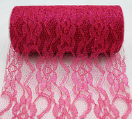 "6"" wide x 10 Yards Sparkle Floral Pattern Lace Fabric for Decorating, Floral Designing and Crafts (Fuchsia)"