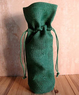 "AK-Trading - Pack of 5 - Single Bottle Jute Burlap Wine Bags with Drawstring closure Natural color size 6""W x 15""H x 3.5"" Gusset Bottle Wine Carry Bag Eco-friendly Reusable Bag (Hunter Green)"